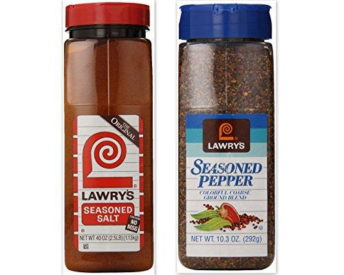 Lawry's Seasoning Bundle (Pack of 2) includes 1-Bottle Seasoned Salt, 40 oz + 1-Bottle Seasoned Pepper, 10.3 oz by Lawry's
