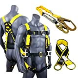 KwikSafety HURRICANE KIT | 3D Full Body Back Support Safety Harness, 6' Lanyard, 3' Anchor ANSI OSHA PPE Fall Protection Arrest Restraint Equipment Universal Construction Roofer Bucket