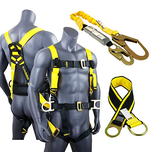 KwikSafety HURRICANE KIT   3D Full Body Back Support Safety Harness, 6' Lanyard, 3' Anchor ANSI OSHA PPE Fall Protection Arrest Restraint Equipment Universal Construction Roofer Bucket by KwikSafety