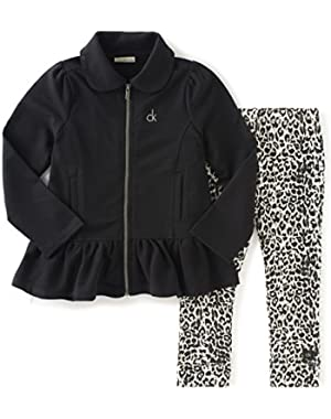 Baby Girls' Jacket with Zip Fron and Leggings Set!