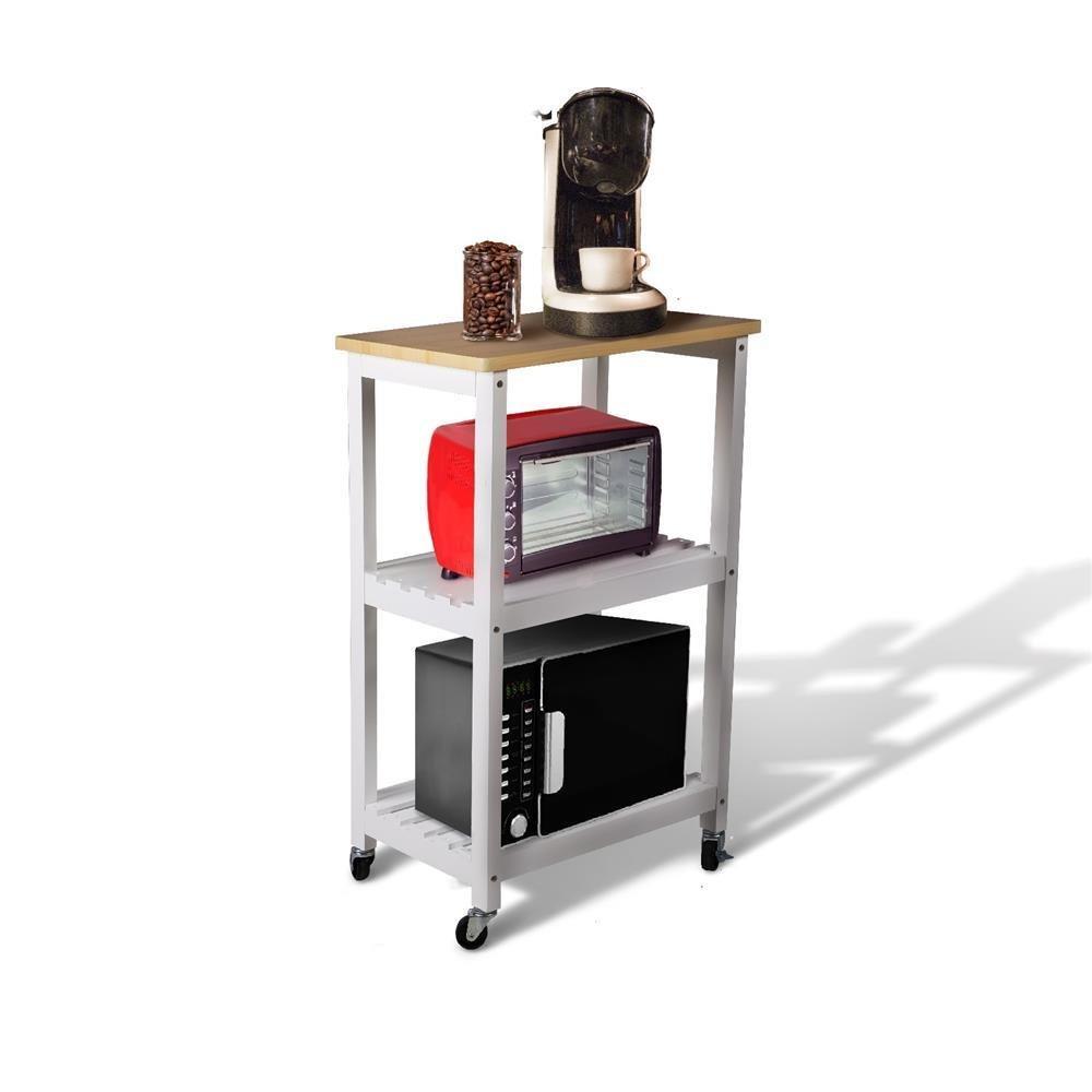 yaheetech utilidad hueca de cocina carrito de madera carrito de cocina con comedor de almacenamiento portátil soporte microondas horno Rack estantes ...