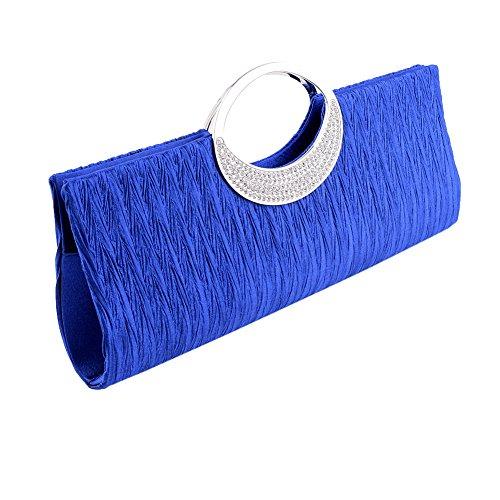 (U-Story Elegant Evening Rhinestone Satin Pleated Wedding Party Clutch Purse Handbag)