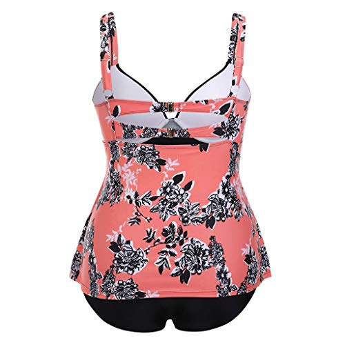 Plus Size Women Tummy Control Two Piece Print Swimwear Padded Push Up Swimsuits