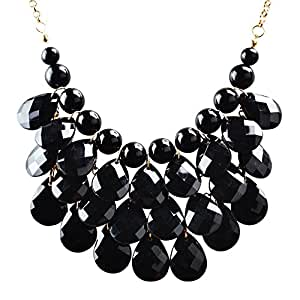 Jane Stone Fashion Bubble Layered Necklace Floating Teardrop Collar Statement Jewelry for Women(Fn0580-Black)