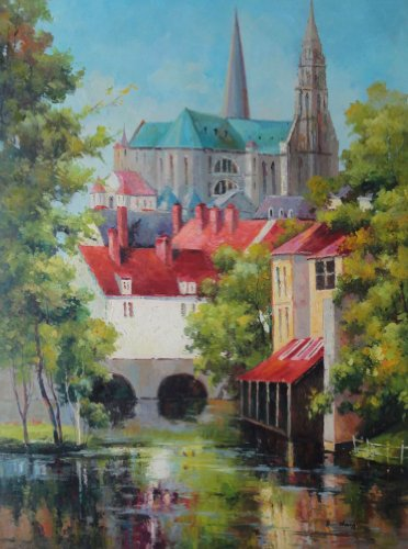 "BeyondDream Oil Painting 48""x36"" River Pass by Europe Village with Blue and Red Roof Buildings Naturalism, Art"