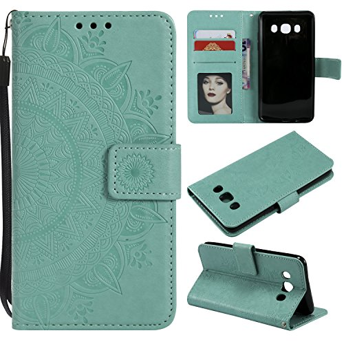 Galaxy J7 2016 Floral Wallet Case,Galaxy J7 2016 Strap Flip Case,Leecase Embossed Totem Flower Design Pu Leather Bookstyle Stand Flip Case for Samsung Galaxy J7 2016-Green by Leecase