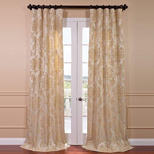 (Half Price Drapes JQCH-20122010-96 Magdelena Faux Silk Jacquard Curtain, 50 x 96, Champagne)