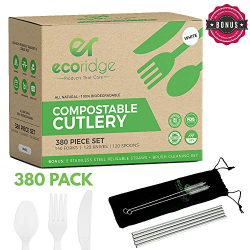 100% Compostable Utensils - Forks Spoons Knives - 380pc Compostable Utensil Cutlery Set | Disposable, Recyclable, Eco-Friendly, Heat Resistant, Durable, | for Party Supplies, Thanksgiving, Picnics