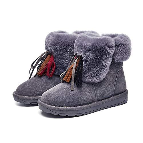 Bottes élégantes extérieur etc chaudes Gris femmes Chaussures Glands pour maison Zhw de épaisses Boots Femmes Snow la ZwIfqv4