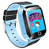 Themoemoe Kids GPS Smartwatch, 1.44'' Smart Watch Bracelet For Children Girls Boys Christmas Gifts with Touch Screen Camera Pedometer Anti-lost SOS Compatible for iPhone Android (Blue)