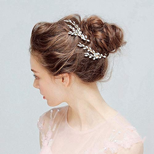 Lovely Crystal Wheat Bridal Hair Combs Wedding Jewelry Cute Branch Rhinestone Princess Headpiece Women Accessories FS178 Clear Light Yellow Gold Color