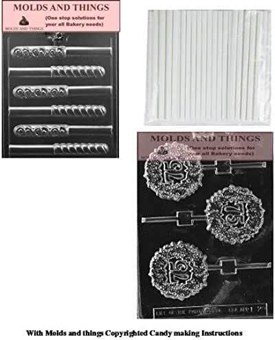 75TH LOLLY numbers and letters Chocolate candy mold & Swirl Pretzel Chocolate candy mold With Copywrited molding Instructions + 50 sticks