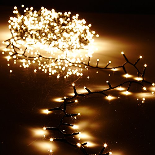 - Raz 36.5' Warm White Compact LED 500 Light Garland with Green Wire and Remote G3737065
