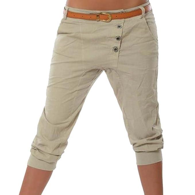 903ef6b629 Hellomiko Pantalones Cortos Harem para Mujeres - 3 4 Pantalones Cortos  Pantalones Cortos Capri Pantalones Pantalones Largos elásticos Pantalones  sólidos en ...