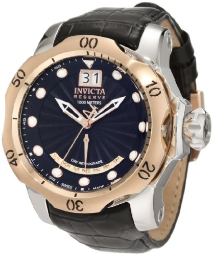Men's  Reserve Retrograde Black Dial Black Leather Watch - Invicta 1593