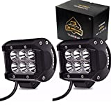 Spot 4In Pods Cube Led Driving Fog Lights Bumper Grill Off Road Backup Reverse Work Lights Auxiliary Driving Headlights for Motorcycle Kawasaki Mule Jeep Wrangler Boat Tractor Emergency Light Truck