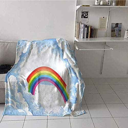 Khaki home Children's Blanket Room/Bedroom Digital Printing Blanket (60 by 80 Inch,Cartoon,Rainbow Above Fluffy Cute Romantic Clouds for Kids Nursery Art,Baby Blue White Red Yellow Pink