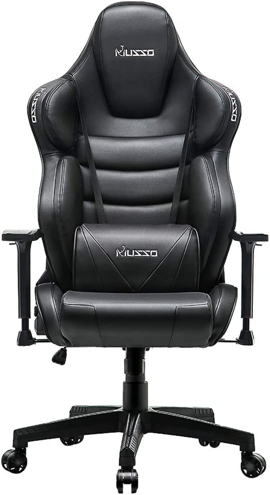 Musso Contoured Gaming Chair Adjustable Racing Style Computer Chair with Fully Foam, Premium PU Leather Executive Office Chair with Lumbar Support Black