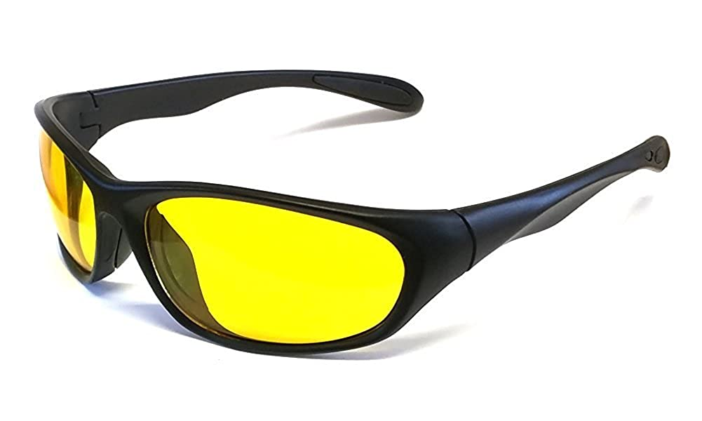 Yellow Lens Night Driving Glasses Wraparound Polycarbonate Shatterproof UV400 Lens I-Sential Hard Case /& Cloth