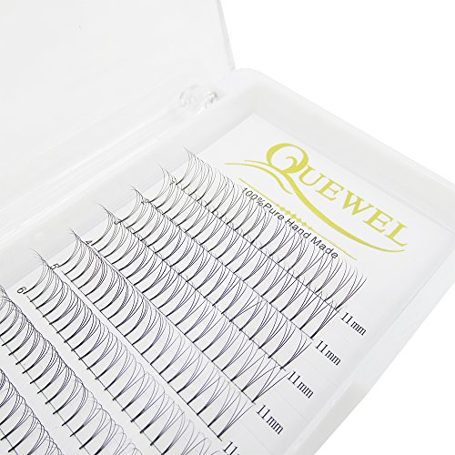 Russian Volume Premade Fans Eyelashes Extension 3D 4D Thickness 0.07/0.10 Curl C/D Length 8-15mm by Quewel (3D-0.10-C, 11mm)