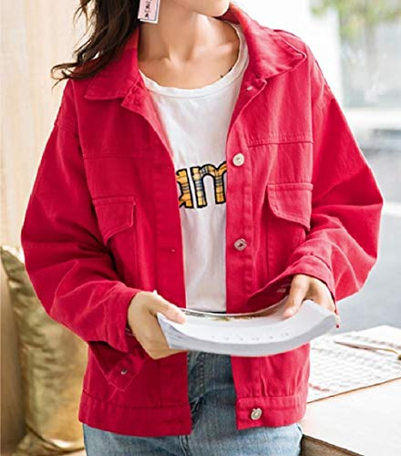 Button Down Turn Washed Collar Red Casual Jacket Jeans Loose Women's Mogogo RYHnq54R