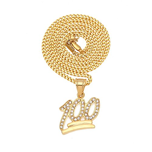 Long Sweater Chain 100 Points Pendant Necklace Cuekondy Hip Hop Rhinestone Crystal Stainless Steel Charm Statement Jewelry for Men Women Girls (gold, ()