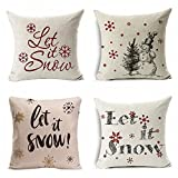 4 Pack Christmas Pillowcases,Let It Snow Beautiful Snowflakes In Red,Snowman,Merry Christmas Decorative Throw Pillow Case Cushion Covers Cotton Linen 18 X 18 Inch for Sofa (Let it Snow)
