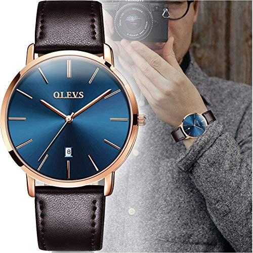 OLEVS Men's Ultra Thin Minimalist Wrist Watch Analog Quartz Deep Blue Dial with Brown PU Leather Band Water Resistant Date Calendar Window Man Watch Slim Watches