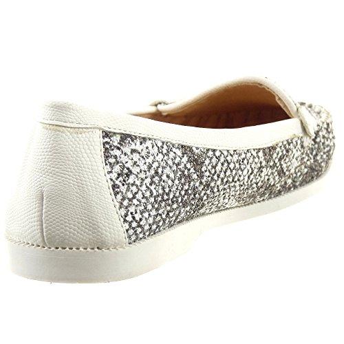 Sopily - Zapatillas de Moda Mocasines Tobillo mujer Piel de serpiente Talón Tacón ancho 1.5 CM - Negro