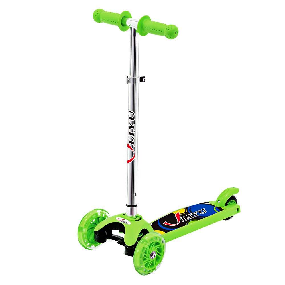 LIYU 1281F 3 Wheels Kids Mini Kick Scooter with Adjustable Height/LED Flashing Wheel/Wide Durable Deck/Green Material/Lean-to-Steer Mechanism