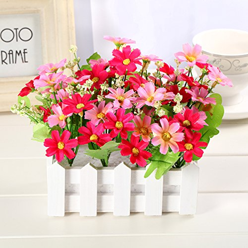 Louis Garden Artificial Flowers Fake Daisy in Picket Fence Pot Pack - Mini Potted Plant (Daisy-Pink) by Louis Garden (Image #1)
