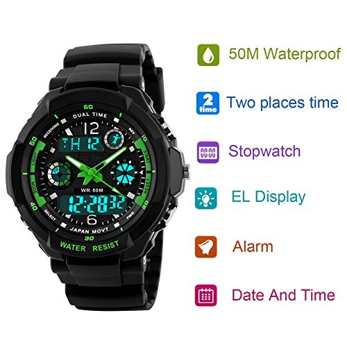 Kids Sports Digital Watch Boys Analog Waterproof Sport