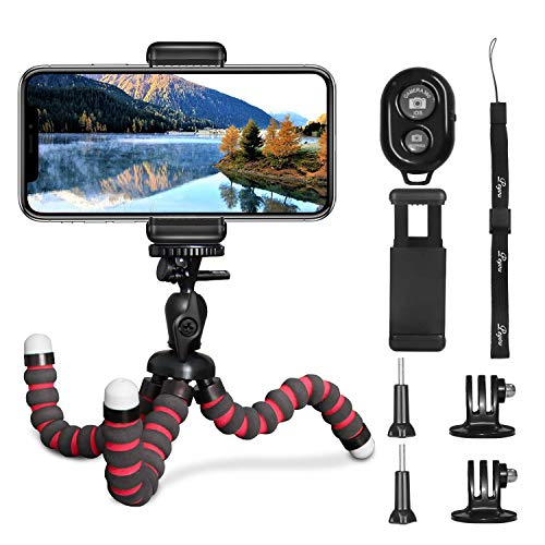 Phone Tripod, PEYOU [5 in 1] Flexible Octopus Tripod Stand + 2PCS Tripod Adapter for Gopro + Phone Mount Holder + Bluetooth Wireless Remote Shutter Compatible for iPhone Samsung Gopro Sports Camera
