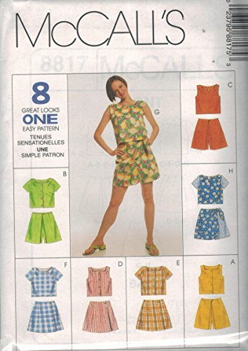 8817 McCalls Sewing Pattern Uncut Misses Boxy Top Skort 8 Great Looks Size 12 14 16