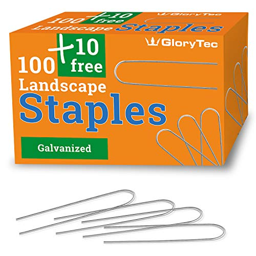 (Glorytec 110 Galvanized Garden Staples- 6 Inch Anti-Rust Landscape Staples - Comparative-Winner 2018-11 Gauge Heavy-Duty Landscaping Pins - Ground Pegs for Weed Barrier, Invisible Doge Fence)