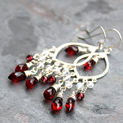Chandelier Garnet Earrings Sterling Silver Red Rhodolite Gemstone Romantic Statement