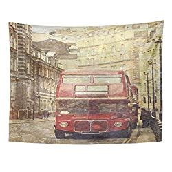 Emvency Tapestry Town Vintage of Old Red London Bus Historic Street Home Decor Wall Hanging for Living Room Bedroom Dorm 60x80 Inches