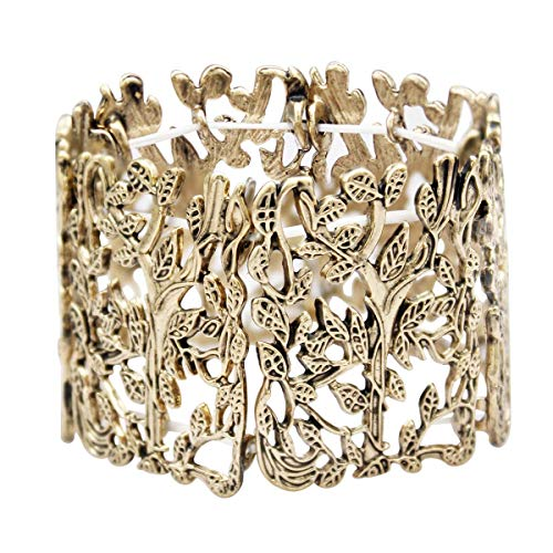 RechicGu Vintage Gold Vintage Greek Tree Life Branch Leaf Twig Stretch Wide Toga Bracelet Bangle Cuff -