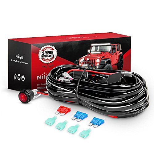 Nilight LED Light Bar Wiring Harness Kit 12V On Off Switch Power Relay Blade Fuse for Off Road Lights LED Work Light