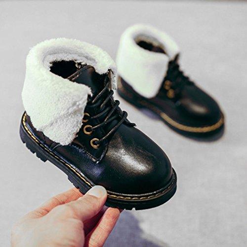 TPulling Mode Junge Und Mädchen Martin Stiefel Herbst Und Winter Plus Kaschmir Schneeschuhe Stiefel Schuhe Lässige Schuhe Schwarz