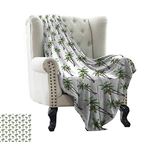 WinfreyDecor Living Room/Bedroom Warm Blanket Botanical Watercolor Artwork of Hawaiian Aloha Forest Palm Trees in Pairs All Season for Couch or Bed 60
