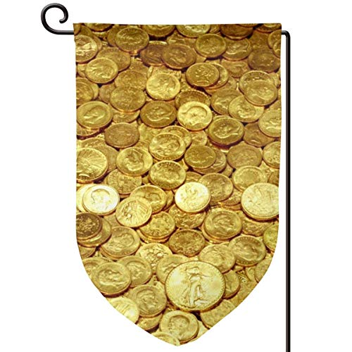 Gold Coins Roof Double Sided Vibrant Printing On Both Sides Decorative House Yard Flag Garden Outdoor Decoration One Size