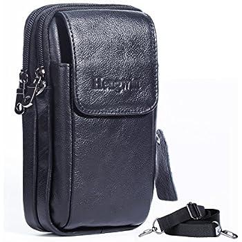 27391386c Hengwin Leather Vertical Men Cellphone Belt Loop Holster Case Belt Waist Bag  Mini Travel Messager Pouch Crossbody Pack Purse Wallet with a Clip iPhone 8  ...