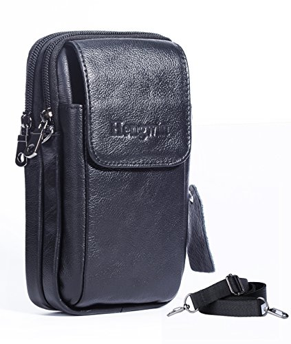 Leather Vertical Men Cellphone Belt Loop Holster Case Belt Waist Bag Mini Travel Messager Pouch Crossbody Pack Purse Wallet with a Clip iPhone 8 Plus 7 Plus Note 8 S8 Edge Plus+Keychain-Black