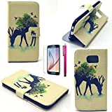 S4 Mini Case, JCmax Cute Animal Series Super Slim & Shock Resistant PU Leather Burse Case Flip Magnetic Flap With Stand Function For Samsung Galaxy S4 Mini- Milu Deer