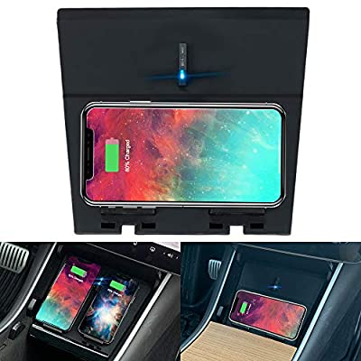 Tesla Model 3 Wireless Charger, M3 Horizontally/Vertically Dual Qi Wireless Smartphone Charging Pad Center Dual USB Charging, Compatible with Tesla Model 3 Accessories