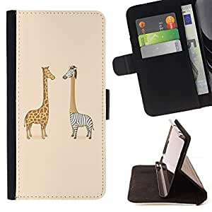 DEVIL CASE - FOR LG G2 D800 - Funny Zebra & Giraffe - Style PU Leather Case Wallet Flip Stand Flap Closure Cover