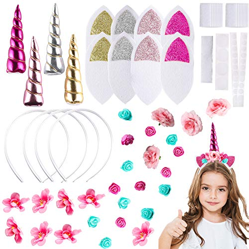Diy Halloween Headpieces (BeYumi 4Pcs DIY Unicorn Headband Kit for Kids Art & Craft Kit Trendy and Stylish DIY Unicorn Headband Kit Hair Accessories Cosplay Costume Halloween)