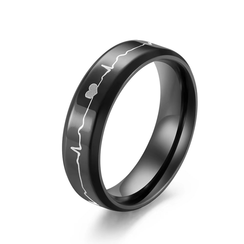 62f405163d Couple Rings 6mm Black and Blue Titanium Stainless Steel Etched ECG Heart  Beat Wedding Band Anniversary Engagement Promise Ring For Women  Men|Amazon.com