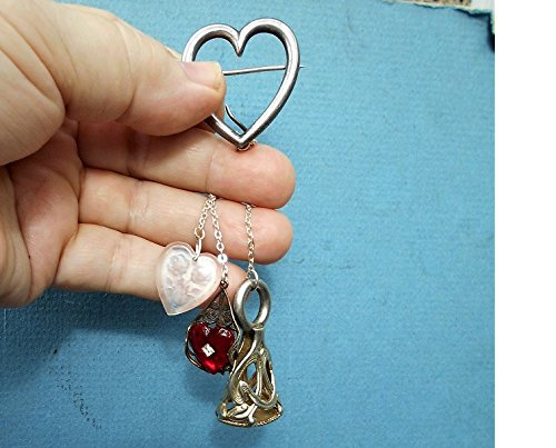 CHATELAINE Large Sterling Heart BROOCH w/ Large Silver Plate Wax Seal Stamp, Cut Glass Roses Heart, Queen Ann High Collar Mirrored Heart. by EMENOW